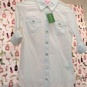 Brand New Lilly Pulitzer Blouse with gold buttons